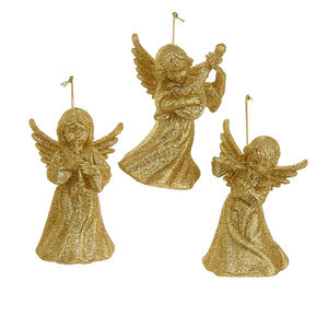 Kurt Adler Gold Glitter Angel With Instrument Ornaments, 3 Assorted, D1287