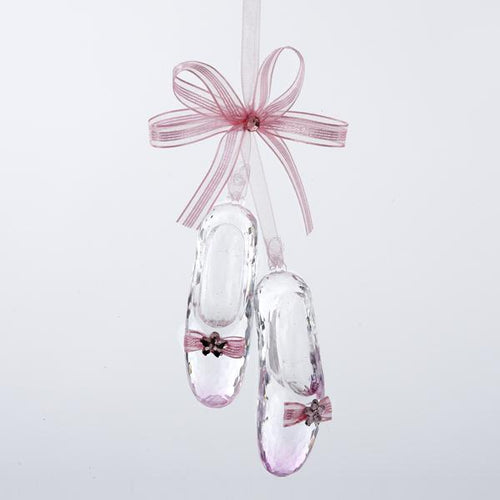 Kurt Adler Pink Ballet Shoes With Bow and Jewel Acrylic Ornament, D1345