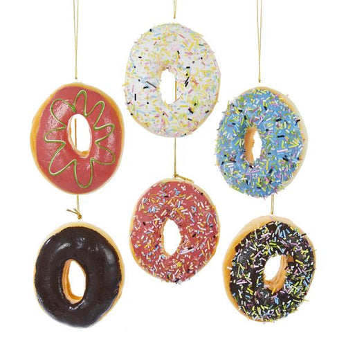 Kurt Adler Foam Donut Ornaments, set of 6, D2340