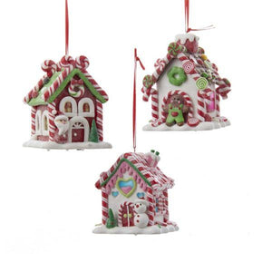 Kurt Adler Battery-Operated LED Gingerbread Candy House Ornaments, 3 Assorted, D2462