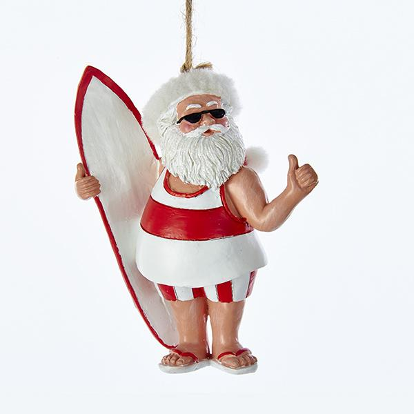Kurt Adler Red and White Surfing Santa Beach Ornament, D3048