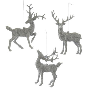 Kurt Adler Silver Glitter Deer Ornaments, 3 Assorted, D3054