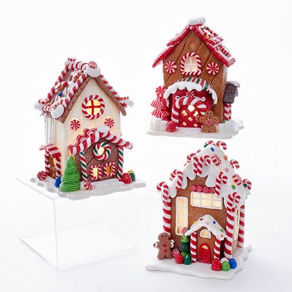 Kurt Adler Battery-Operated Gingerbread House With Warm White LED Lights, 3 Assorted, D3176