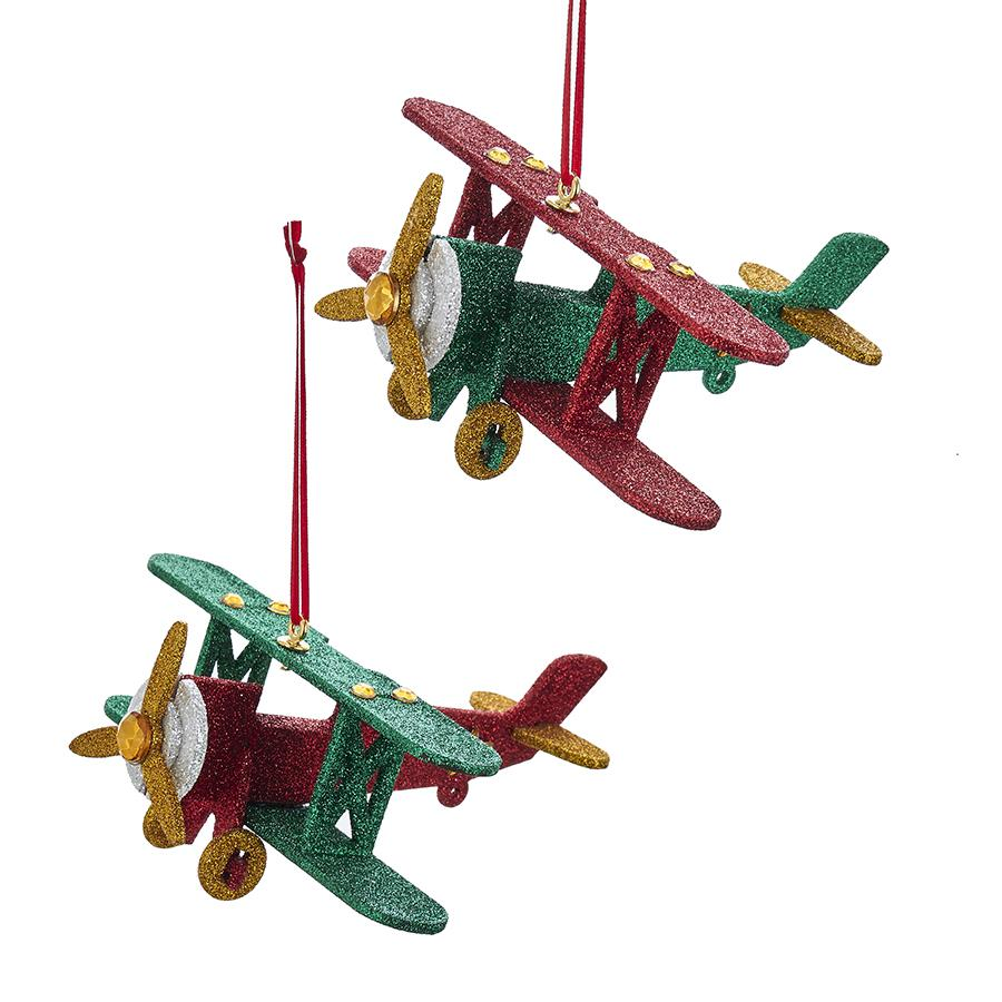 Kurt Adler North Pole Wooden Airplane Ornaments, 2 Assorted, D3227