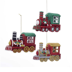 Kurt Adler Glitter Train Ornaments, 3 Assorted, D3261