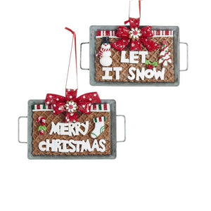 Kurt Adler Gingerbread on Baking Pan Ornaments, 2 Assorted, D3395