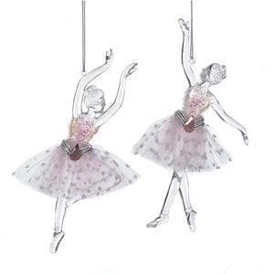 Kurt Adler Pink Ballet Angel Ornaments, 2 Assorted, D3422