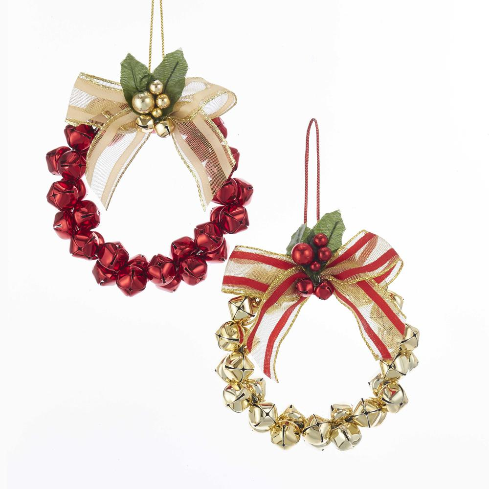 Kurt Adler Metal Gold and Red Bell Wreath Ornaments, 2 Assorted, D3434