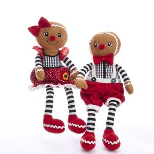"Plush 11"" Gingerbread Boy & Girl Shelf Sitter Figure with Dangle Legs, D3447"