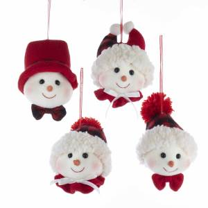 Fabric Snowman Head Ornament, Set of 4, D3472