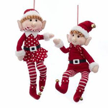 "16"" Fabric Posable Elf Ornament, Boy or Girl, D3479"