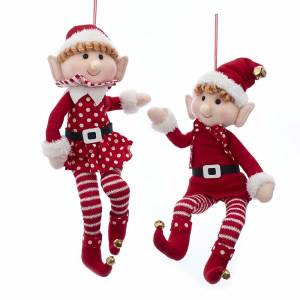 "16"" Fabric Posable Elf Ornament, 2 Assorted, D3479"