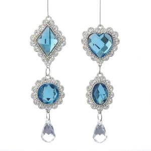 Tiffany Blue and Clear Rhinestone Icicle Drop Ornament, 2 Assorted, D3482