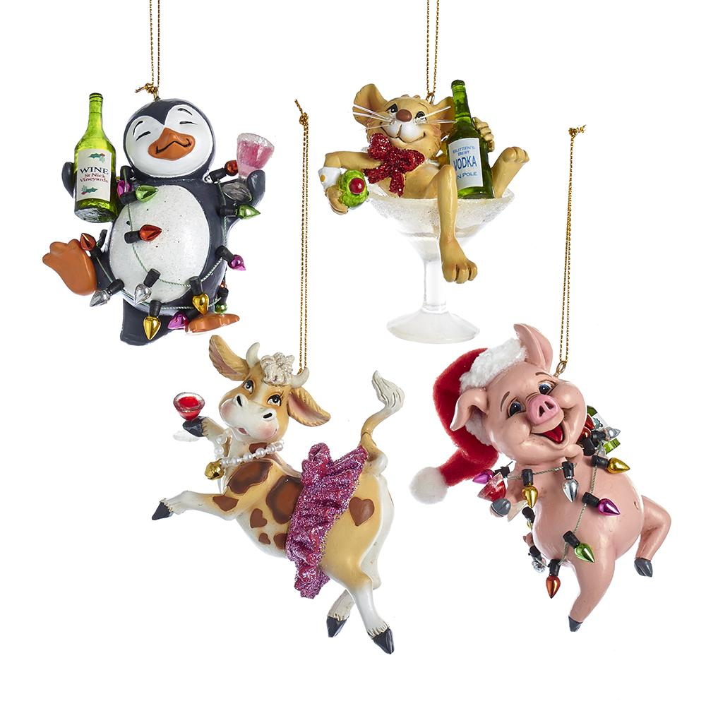 Kurt Adler Party Cow, Pig, Penguin And Mouse Ornaments, 4 Assorted, D3491