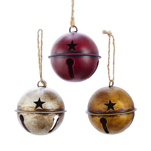 Rustic Country Metal Bell Ornament, Red, Gold, Silver, D3514