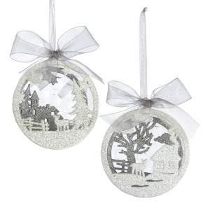 "4.7"" Acrylic 3-D Christmas Scene Half Ball with Glitter, 2 Assorted, D3517"