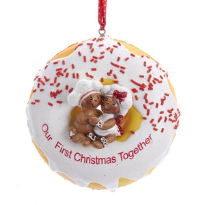 "Kurt Adler 3.9""Gingerbread Donut ""1st Christmas"" Ornament , D3603"
