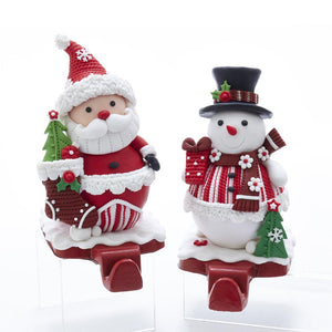 Kurt Adler Red And White Santa And Snowman Stocking Hangers, 2 Assorted, D3610