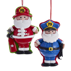 Kurt Adler Santa Fireman And Policeman Ornaments, 2 Assorted, D3612