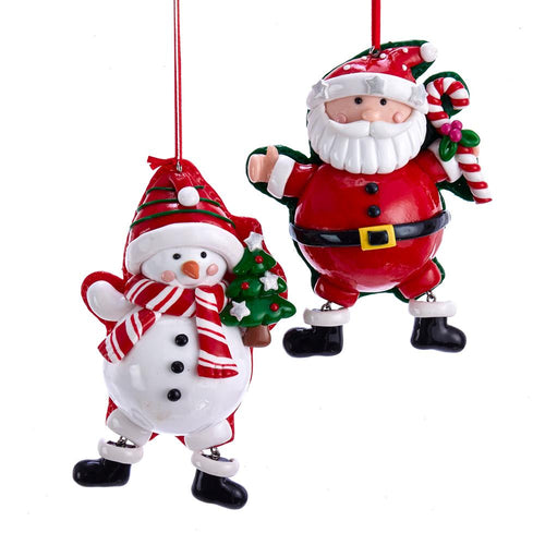 Kurt Adler Claydough Santa And Snowman Ornaments, 2 Assorted, D3616