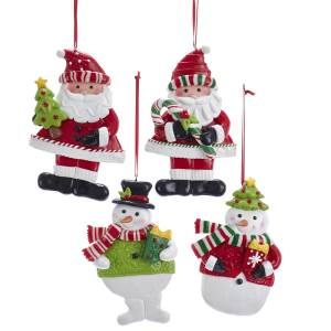 Claydough Red, Green Santa and Snowman Ornament, 4 Styles, D3617