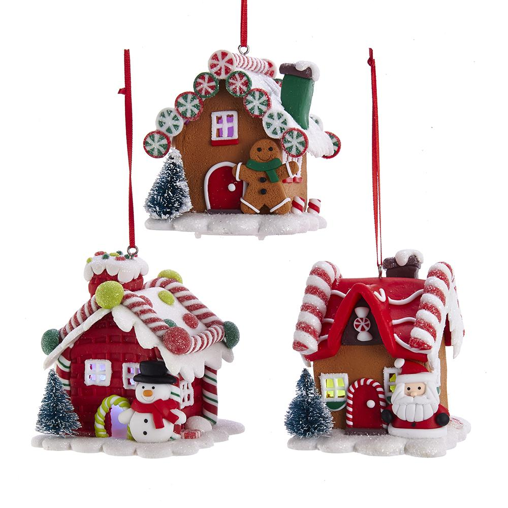 Kurt Adler BATTERY-OPERATED LED GINGERBREAD HOUSE ORNAMENTS, 3 ASSORTED, D3619