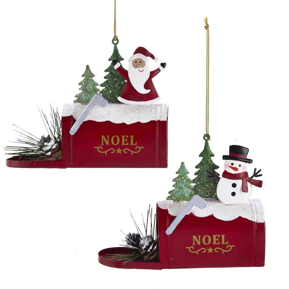 Kurt Adler Santa And Snowman Mailbox Ornaments, 2 Assorted, D3686