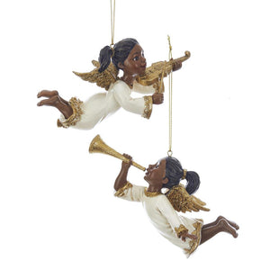 Kurt Adler Ivory and Gold African American Angels With Musical Instrument Ornaments, 2 Assorted, E0207