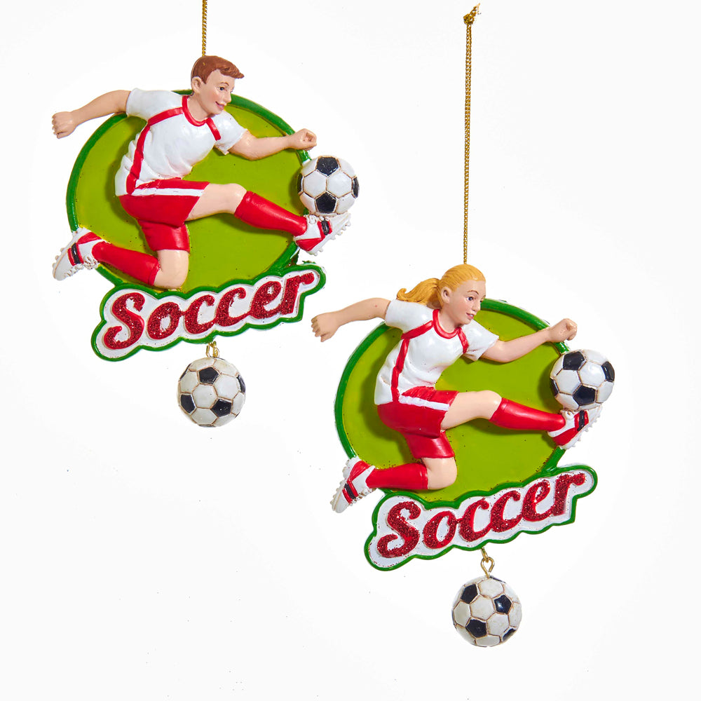 Kurt Adler Soccer Ball Boy and Girl Ornament, 2 Assorted, E0235