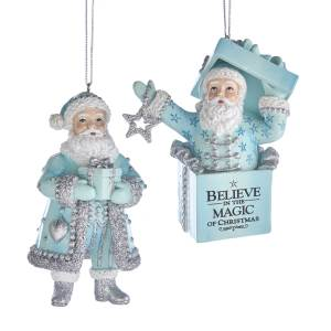 Tiffany Blue, White, Silver Santa  and Santa with Gift Box Ornament, 2 Styles, E0278