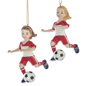 Kurt Adler SOCCER GIRL ORNAMENTS, 2 ASSORTED, E0317