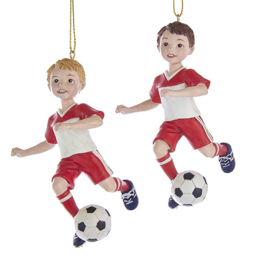 Kurt Adler SOCCER BOY ORNAMENTS, 2 ASSORTED, E0318