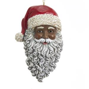 Kurt Adler Resin Black African American Santa Face Ornament, E0347