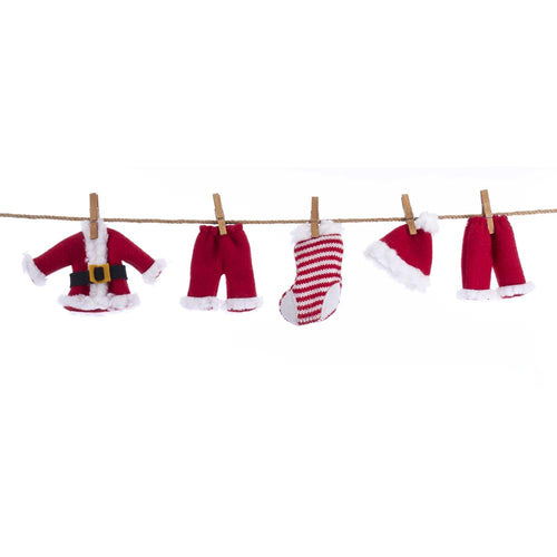 Kurt Adler Cloth Santa Suit Novelty Garland, G0154