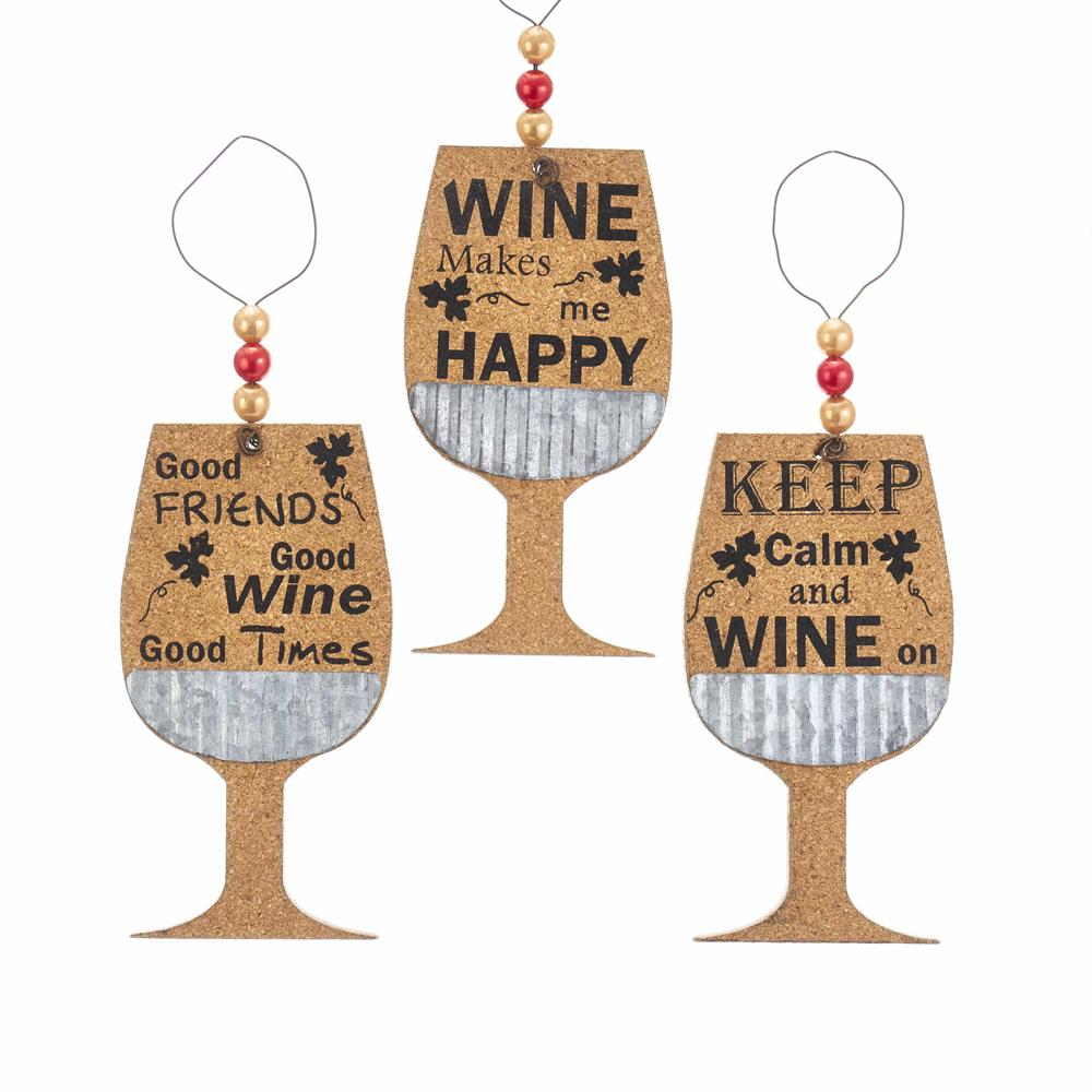 Kurt Adler Cork Wine Glass With Saying Ornaments, 3 Assorted, G0159