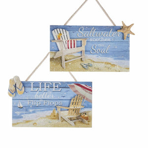 Kurt Adler Wooden Coastal Plaque With Saying Ornaments, 2 Assorted, G0166