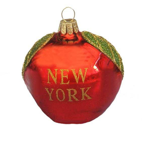 Kurt Adler New York City Apple Glass Ornament, GC0349
