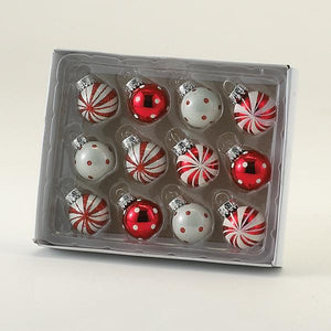 Kurt Adler 25MM Miniature Red and White Glass Ball Ornaments, 12-Piece Box Set, GG0294