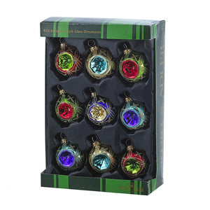Kurt Adler 45MM Miniature Multi-Colored Glass Reflector Ornaments, 9-Piece Box Set, GG0664