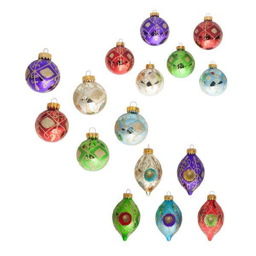 Kurt Adler Multi-Colored Decorative Ball and Finial Ornaments, Set of 3 Boxes, GG0725