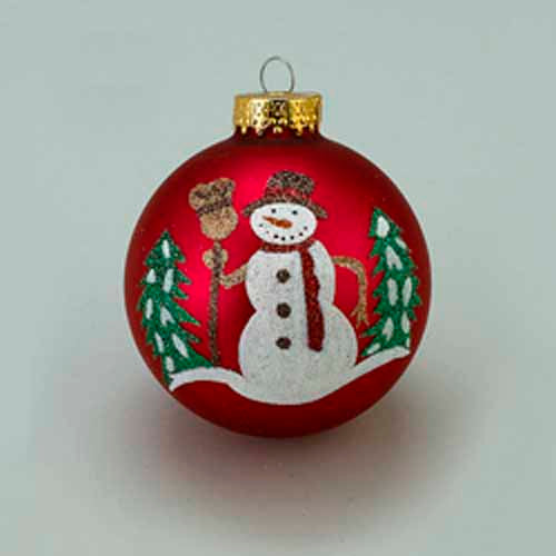 80MM Glass Red Glitter Snowman Ball with Tree Ornament with New York, GG0769