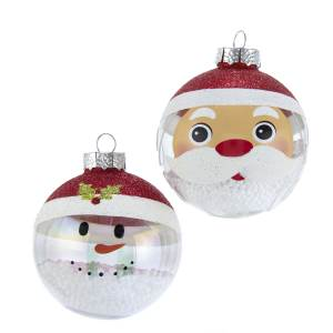 80MM Clear Santa and Snowman Glass Ball Ornament with Snow Inside, 2 Styles, GG0892