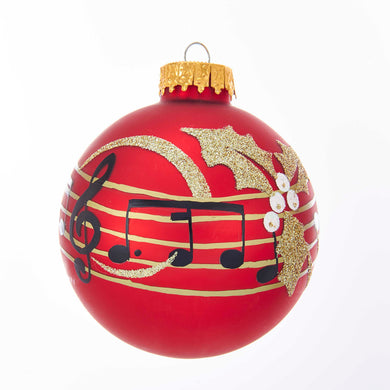 Kurt Adler 80MM Carnegie Hall Red With Music Notes Glass Ball Ornament, GG0912
