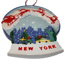 New York City Skyline Water Globe with Santa's Sleigh Ornament