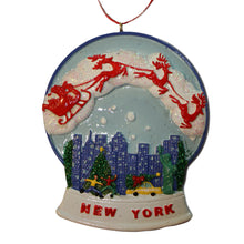 New York City Skyline Water Globe Ornament with Santa Sleigh and Reindeer, CC011