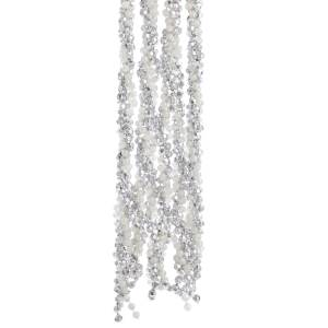 Silver & White Iridescent Twisted Bead Garland, H0274