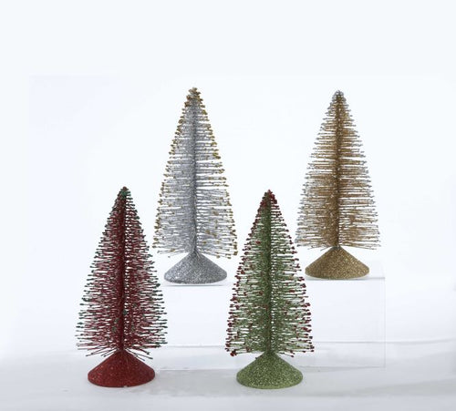 Kurt Adler Vintage Bristle Gold/Silver/Red/ Green Glitter Christmas Tree Tabletop, H1233