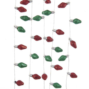 Kurt Adler Red and Green Glitter Light Bulb Garland, H2058