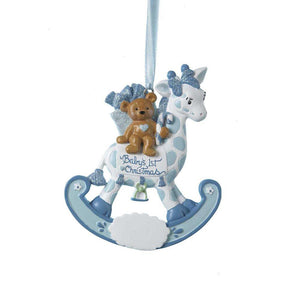 Kurt Adler Baby's 1st Christmas Bear on Rocking Giraffe Boy Ornament For Personalization, H5006B