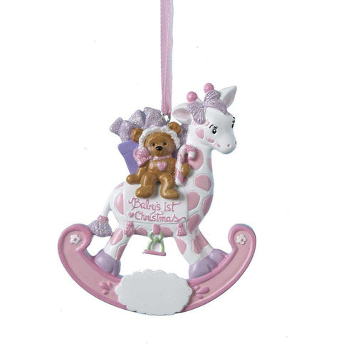 Kurt Adler Baby's 1st Christmas Bear on Rocking Giraffe Girl Ornament For Personalization, H5006G